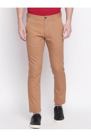 Pantaloons Men Brown Slim Fit Solid Regular Trousers
