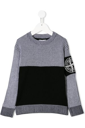 Stone Island Boys Jumpers - Two-tone ribbed jumper