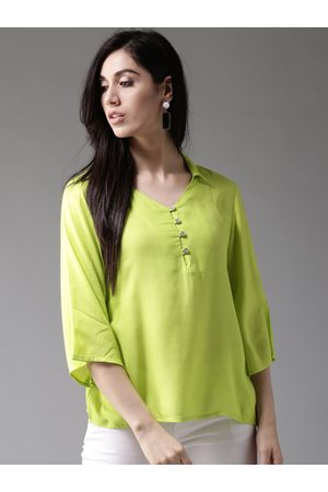 HERE&NOW Women Fluorescent Green Solid Shirt Style Top