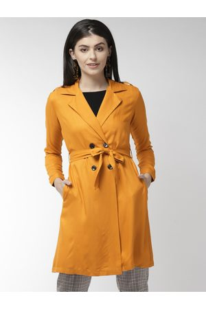 Style Quotient Women Mustard Yellow Solid Double-Breasted Trench Coat