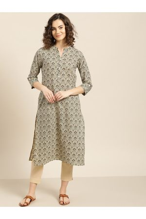 Sangria Women Beige & Black Printed Straight Kurta