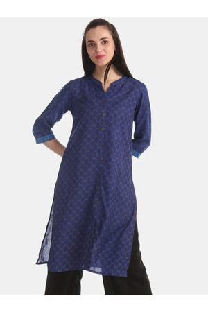 Karigari Women Navy Blue Printed Straight Kurta