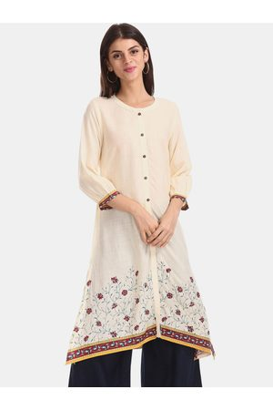 Karigari Women Cream-Coloured & Maroon Printed Straight Kurta