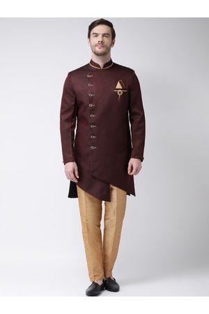 SG RAJASAHAB Men Maroon & Gold-Coloured Silk Solid Sherwani Set