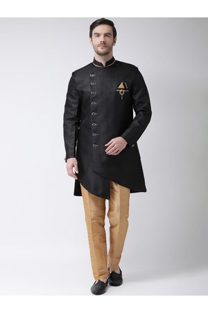 SG RAJASAHAB Men Black & Gold-Toned Solid Silk Sherwani Set