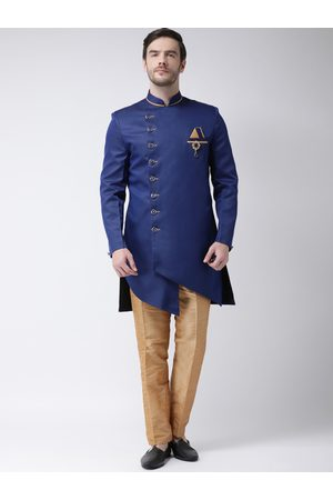 SG RAJASAHAB Men Blue & Gold-Coloured Solid Sherwani Set