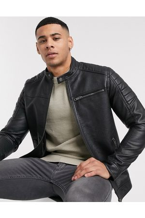 Jack & Jones Essentials faux leather racer jacket in