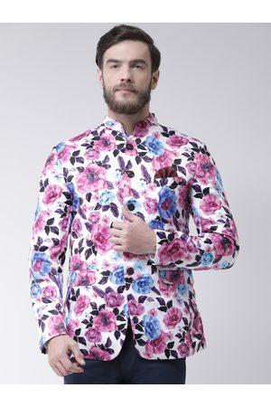 Hangup Men White & Pink Printed Bandhgala Casual Blazer