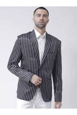 Hangup Men Charcoal Grey & White Striped Single-Breasted Casual Blazer
