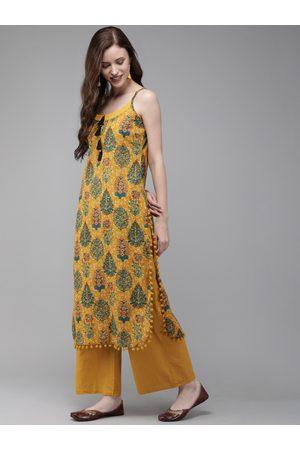 Anouk Women Mustard Yellow & Green Printed Straight Kurta With Tassels Detail