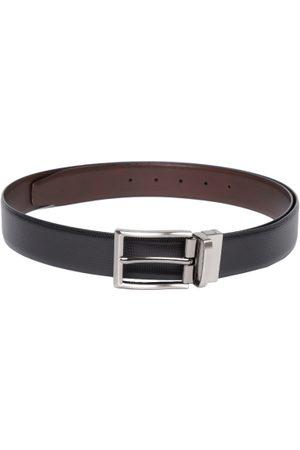 Lino Perros Men Black & Brown Leather Textured Belt