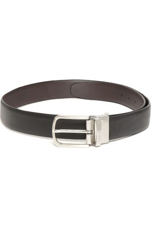 Lino Perros Men Black & Coffee Brown Leather Textured Reversible Belt