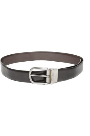 Lino Perros Men Black & Coffee Brown Leather Solid Reversible Belt