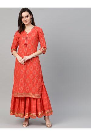 Ishin Women Orange & Golden Foil Print Kurta with Sharara