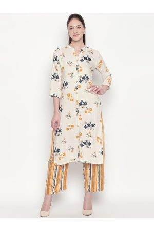 ZRI Women Yellow Printed Kurta with Palazzos
