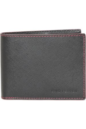Lino Perros Men Black Solid Twofold Leather Wallet