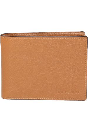 Lino Perros Men Tan Brown Solid Twofold Leather Wallet