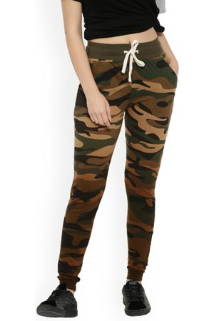 Campus Women Olive Green Camouflage Print Joggers