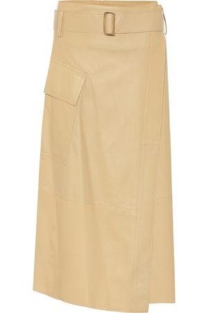 Vince High-rise leather midi wrap skirt