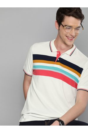 Mast & Harbour Men White & Pink Striped Polo Collar T-shirt