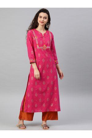 Yash Gallery Women Pink Embroidered Straight Kurta