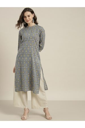 Sangria Women Grey & Mustard Yellow Printed Straight Kurta