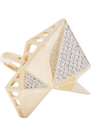 shaze Women Gold-Toned Stone-Studded Faceted Finger Ring