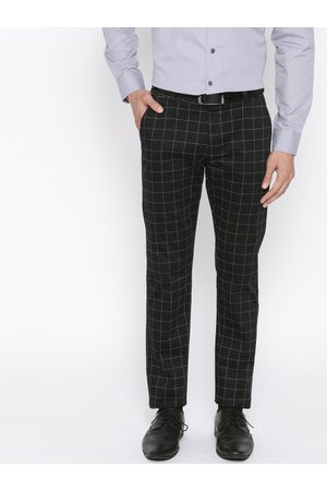 HANCOCK Men Black & White Slim Fit Checked Formal Trousers