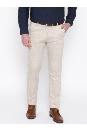 HANCOCK Men Beige & White Slim Fit Checked Formal Trousers