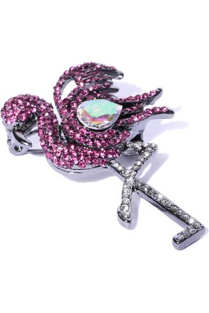 YouBella Women Pink & Silver-Toned Stone-Studded Swan Shaped Brooch