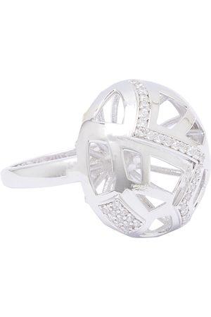 shaze Women Silver-Toned Stone-Studded Football Finger Ring