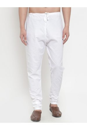 Jompers Men White Solid Churidar Pyjamas