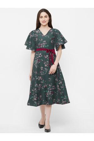 MISH Women Green Floral Printed A-Line Dress