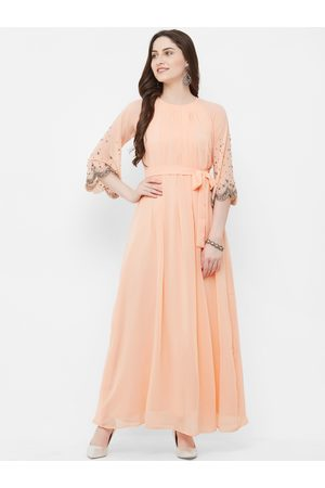MISH Women Peach-Coloured Solid Embellished Maxi Dress