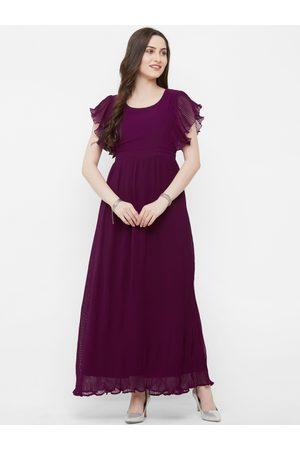 MISH Women Purple Solid Maxi Dress