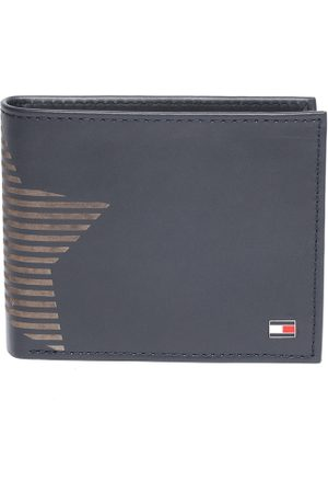 Tommy Hilfiger Men Navy Blue Leather Printed Detail Two Fold Wallet