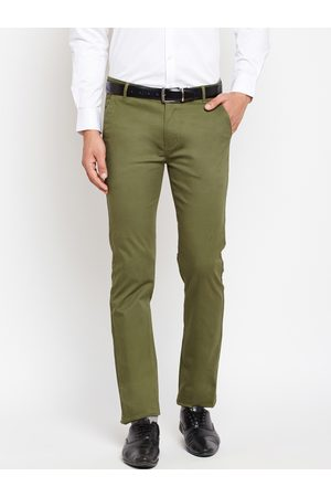 HANCOCK Men Olive Green Slim Fit Solid Formal Trousers
