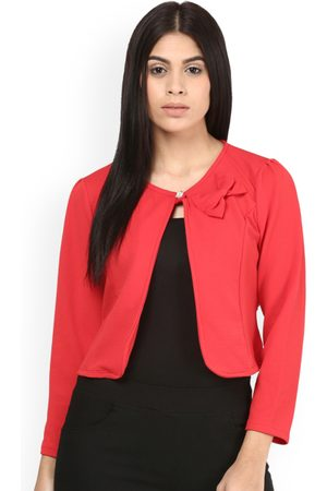 Mayra Women Red Solid Bolero Jacket