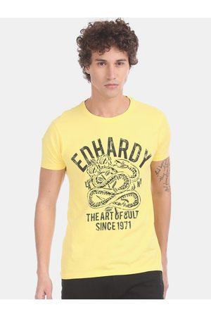 ED HARDY Men Yellow & Black Printed Round Neck T-shirt