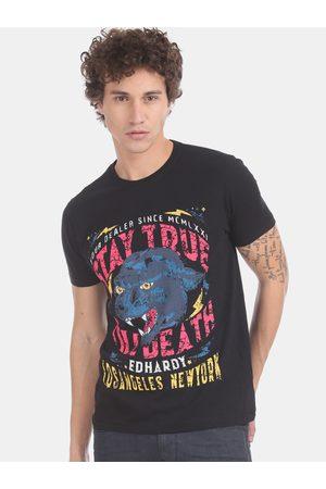 ED HARDY Men Black & Pink Printed Round Neck T-shirt