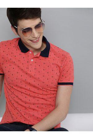 Mast & Harbour Men Coral Orange Printed Polo Collar T-shirt