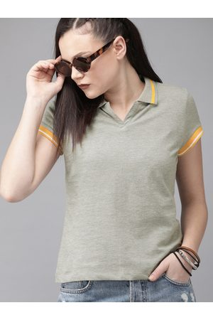 Roadster Women Grey Solid Polo Collar T-shirt
