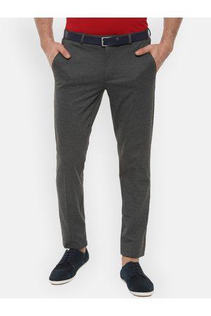 Van Heusen Men Grey Slim Fit Self Design Regular Trousers