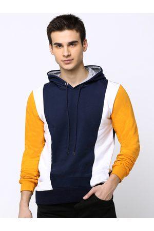Maniac Men Navy Blue Colourblocked Hooded Slim Fit T-shirt