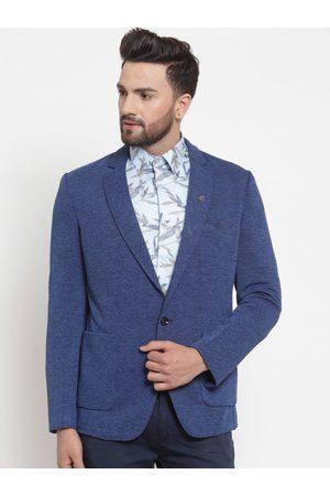 LUXURAZI Men Blue Self-Design Single-Breasted Casual Blazer