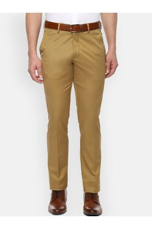 Louis Philippe Men Khaki Slim Fit Solid Formal Trousers