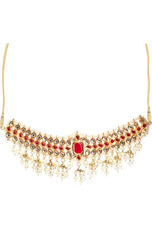 Fabstreet Gold-Plated Red & White Kundan Studded Handcrafted Jewellery Set