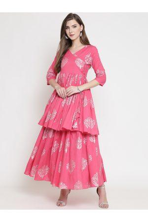 Sera Women Pink & Silver-Toned Printed A-Line Kurta