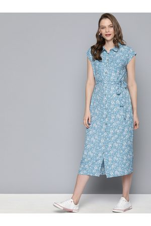 Mast & Harbour Women Blue & White Printed Shirt Dress