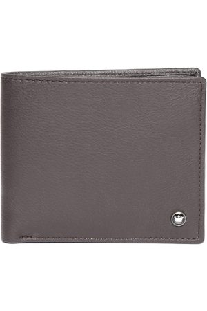 Louis Philippe Men Coffee Brown Solid Leather Two Fold Wallet
